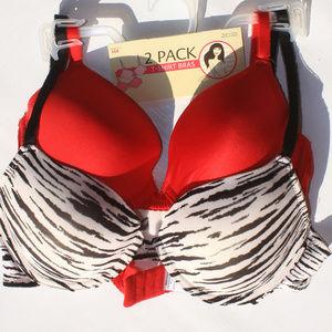 2 Pack t-shirt bras Red Bra Zebra Print Bra NWT